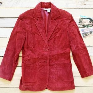 Women's Oversized Small Red Suede Blazer 90s